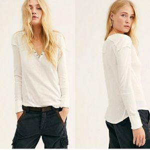 NWT Free People Military Henley Ivory Top